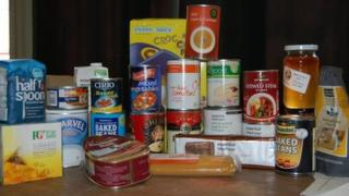 An emergency food box for a single person containing three days' of food (generic)