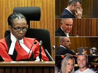 Left: Judge Thokozile Masipa Right from top: Oscar Pistorius, Barry Roux, Gerrie Nel, Reeva Steenkamp and Oscar Pistorius