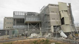 Damage is visible from a gas explosion at Escambia County jail in Pensacola, Florida, on 1 May 2014