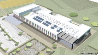 An artists impression of the new school at Oakdale Business Park