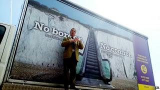 Nigel Farage at UKIP poster launch in Dover