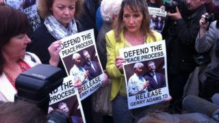 Senior members of Sinn Féin including Martina Anderson and Caral Ni Chuilin attended the rally