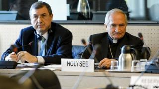 Vatican officials at UN hearing in Geneva, 5 May 14