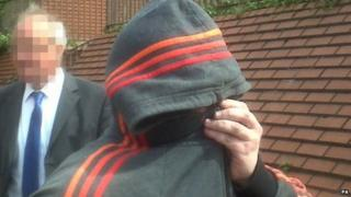 Robert Riley leaving Leeds Magistrates' Court