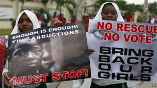 Rally in support of missing girls in Lagos, Nigeria. 5 May 2014