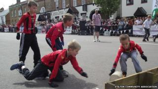 Cheese rolling at Stilton