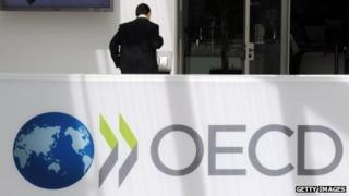 A delegate at the OECD headquarters