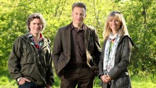 Springwatch presentation team: Martin Hughes-Games (left), Chris Packham (centre) and Michaela Strachan