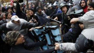 Occupy Wall Street demonstrators clashed with New York City Police inside Zuccotti Park in New York on 17 November 2011