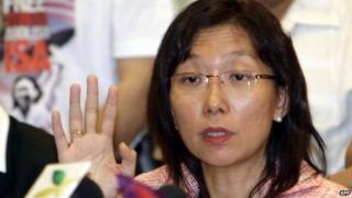 This file photo taken on September 19, 2008 shows Malaysian opposition politician Teresa Kok holding a news conference