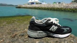 A shoe left at Jindo harbour by relatives of a victim of the ferry disaster