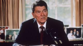 Ronald Reagan in the White House Oval office in 1985.