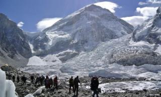 Climbers after their expedition to Mount Everest was cancelled