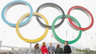 Natalie Morales, Savannah Guthrie, Matt Lauer, Al Roker and Willie Geist of the NBC TODAY Show report from the Olympic Park during the Sochi 2014 Winter Olympics 21 February 2014