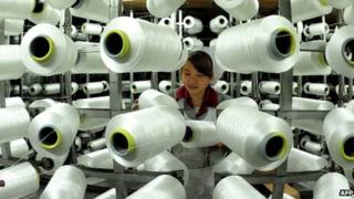 A worker in a factory in China