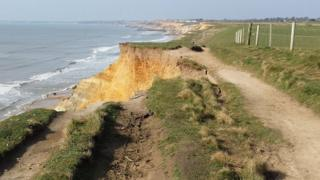 Collapsed Solent coast path