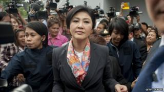 Thai ex-Prime Minister Yingluck Shinawatra meets her supporters at the Defence Permanent Secretary Office in Bangkok, Thailand, 7 May 2014