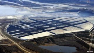 The Suncor tar sands mining operation near Fort McMurray, Alberta, on 3 November 2011