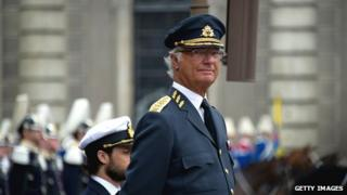 King Carl XVI Gustaf of Sweden attends his birthday ceremony at the Royal Palace in Stockholm on 30 April 2014