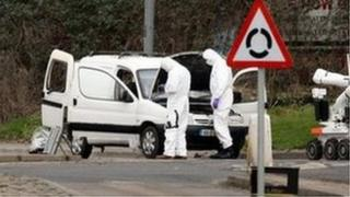 Police forensic experts with van