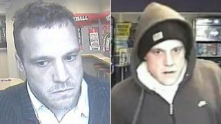 CCTV images of robber who carried out Ladbrokes raid (left) and Coral raid (right)