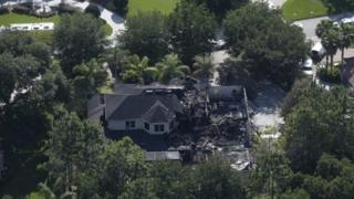 This aerial photo shows the burned out home in Tampa, Florida 8 May 2014