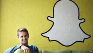 Evan Spiegel and Snapchat logo