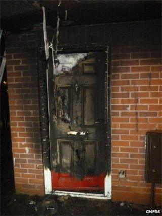 Fire-damaged door