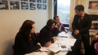 Bedford Free School head teacher Mark Lehain with some pupils