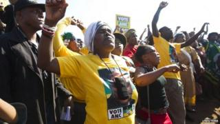 Supporters of African National Congress at a voting station in the Nkandla district, 7 May 2014