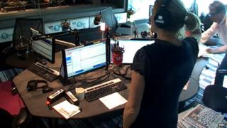 Nicky Campbell and Rachel Burden were seen fleeing the studio on the 5 live webcam