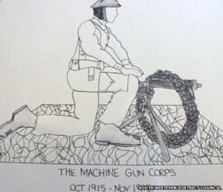 Design One: A World War One soldier kneeling behind a gun with a commemorative reef draped over it