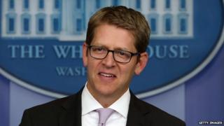 Press secretary Jay Carney in the White House briefing room.
