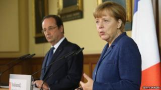 Francois Hollande and Angela Merkel, 10 May 2014