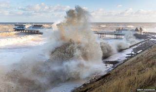Storm surge at Cromer Pier, Norfolk