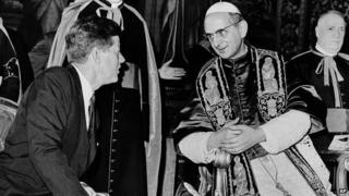 Pope Paul VI and John Kennedy at the Vatican July 1963