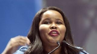 Lindiwe Mazibuko, parliamentary leader of the Democratic Alliance (DA), at a rally in Cape Town on 6 April 2014