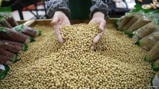 Soybeans being sold in a market (Image: Reuters)
