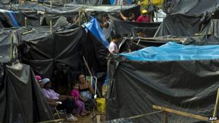 Tents at the Copa do Povo 'flash favela' in eastern Sao Paulo, Brazil.