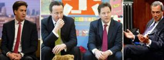 From left: Ed Miliband, David Cameron, Nick Clegg and Nigel Farage