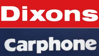"Composite of signs saying ""Dixons"" and ""Carphone"""