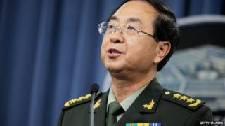 People's Liberation Army of China Chief of the General Staff Gen Fang Fenghui hold a joint press conference on 15 May 2014 in Arlington, USA