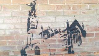 Graffiti on Boston Stump's vicarage