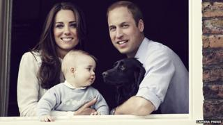 Prince William, the Duchess of Cambridge, Prince George and their dog Lupo