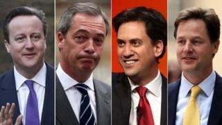 David Cameron, Nigel Farage, Ed Miliband and Nick Clegg