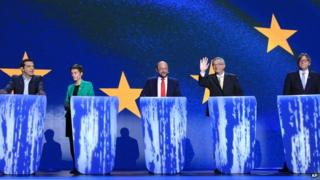 From left, Alexis Tsipras from Greece, Ska Keller and Martin Schulz from Germany, Luxembourg's Jean-Claude Juncker and Belgium's Guy Verhofstadt