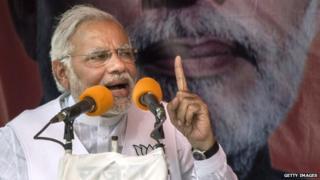 Narendra Modi at a rally on 10 May 2014 near Varanasi, India