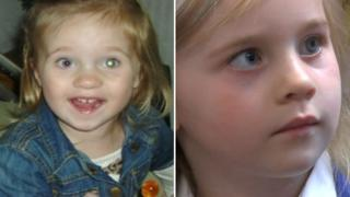 Gracie aged two (l) and aged four (r)