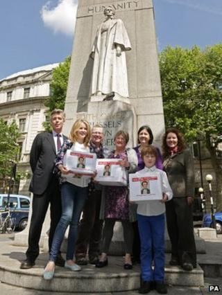 Edith Cavell coin campaigners at the Treasury