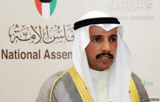 Kuwaiti Parliament Speaker Marzouq al-Ghanem speaks to the press at the National Assembly in Kuwait city on April 24, 2014.